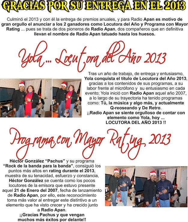 RECONOCIMIENTOS ANUALES 2013