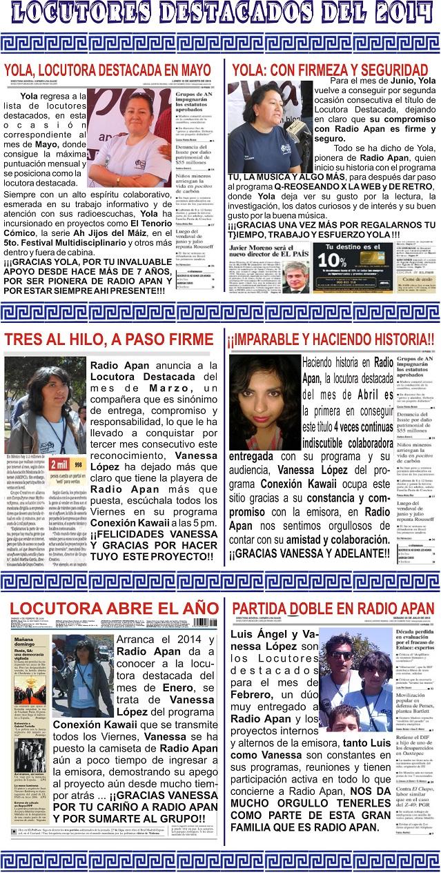 Locutores destacados del primer semestre del 2014
